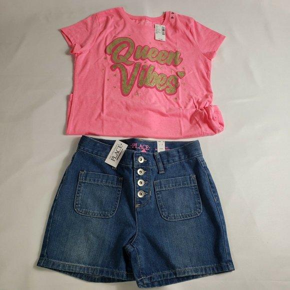 NWT The Childrens Place Sz 10 T-Shirt/ Short Set.